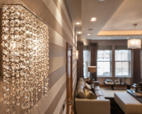 Atoll crystal chandelier in a private residence, Manooi Crystal Chandeliers