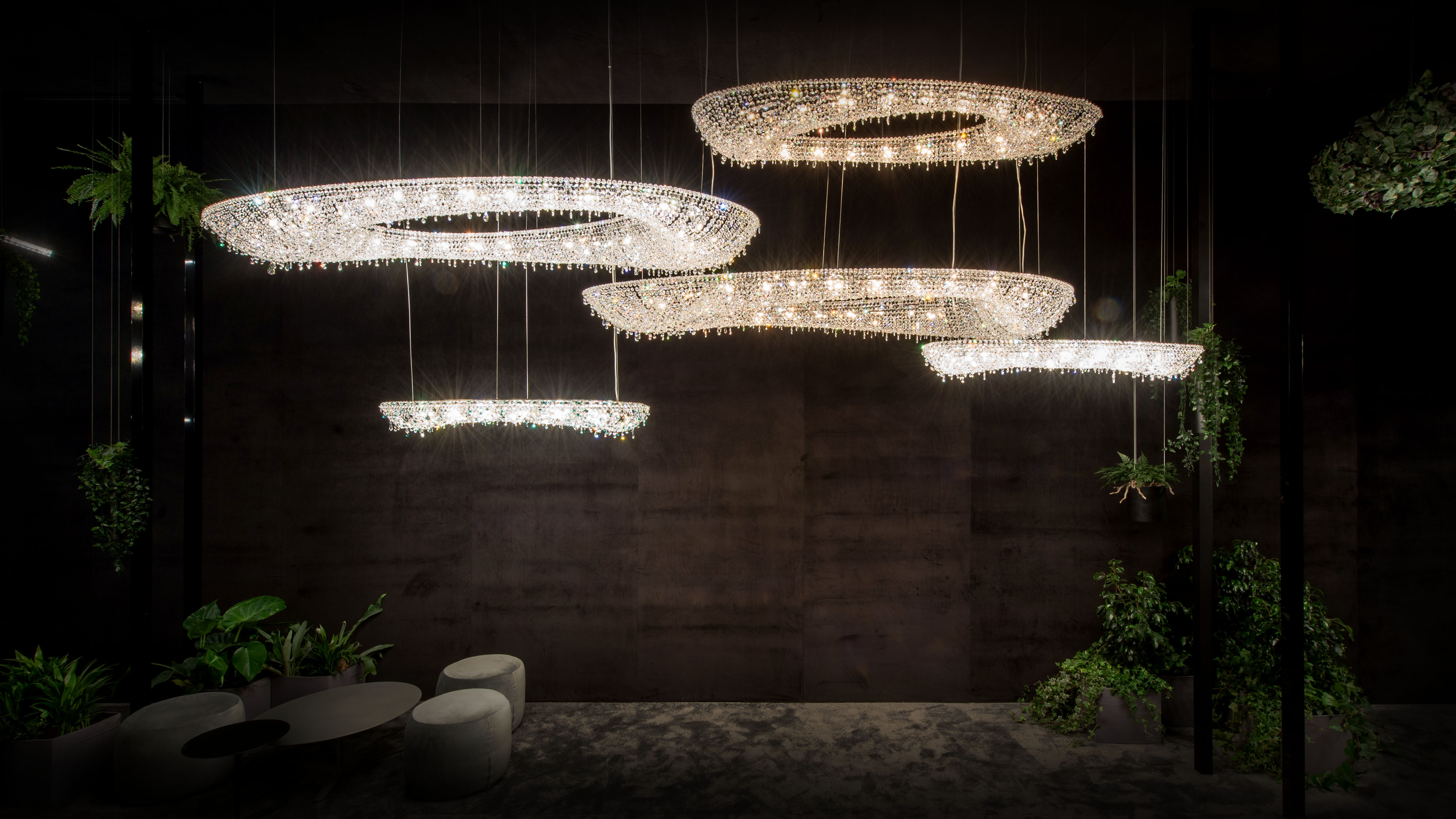 Magical Crystal Forest: EUROLUCE 2019, Manooi Crystal Chandeliers